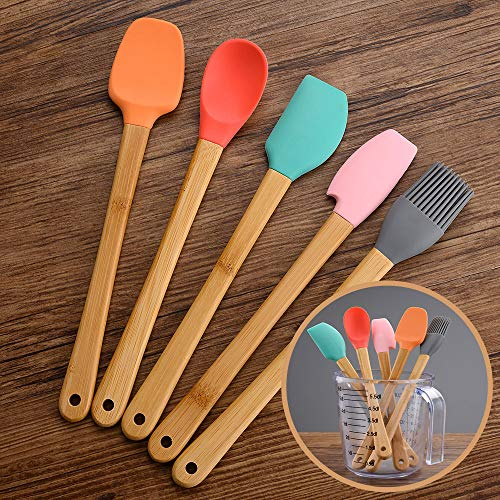 5 Piece Silicone Spatula,Mini Rubber Spatula Wooden Handle,Heat Resistant Silicone Spatula Set,Kitchen Utensils Non-Stick For Baking,Cooking And Mixing
