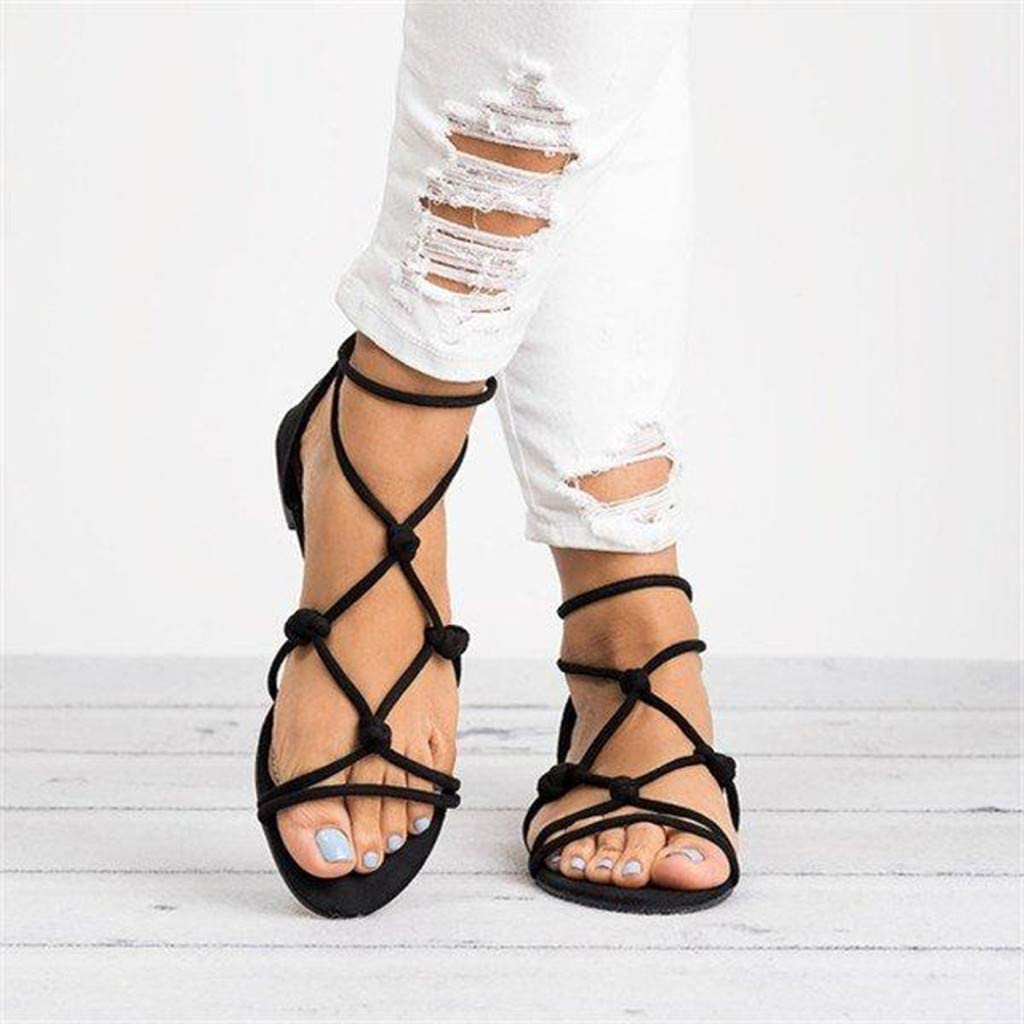 Andouy Women's Ladies Summer Casual Big Size Flat Beach Zipper Ankle Sandals Roman Shoes Black