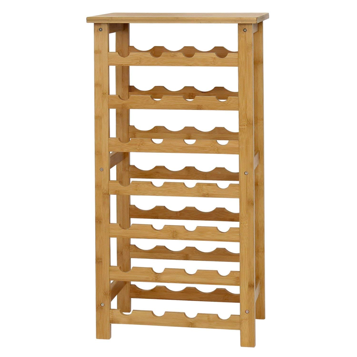 Peach Tree Bamboo Wine Rack Countertop Bottle Storage Containers, 12-Bottle 2-Tiers GB