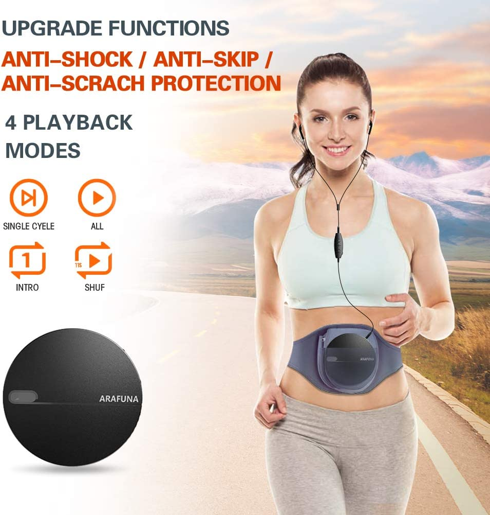 ARAFUNA Upgraded Anit-Shock Anit-Skip CD Player Portable with Compact Lightweight Design for Kids Adults Silver Portable CD Player Discman CD Player with Headphones Wired Controller USB Cable