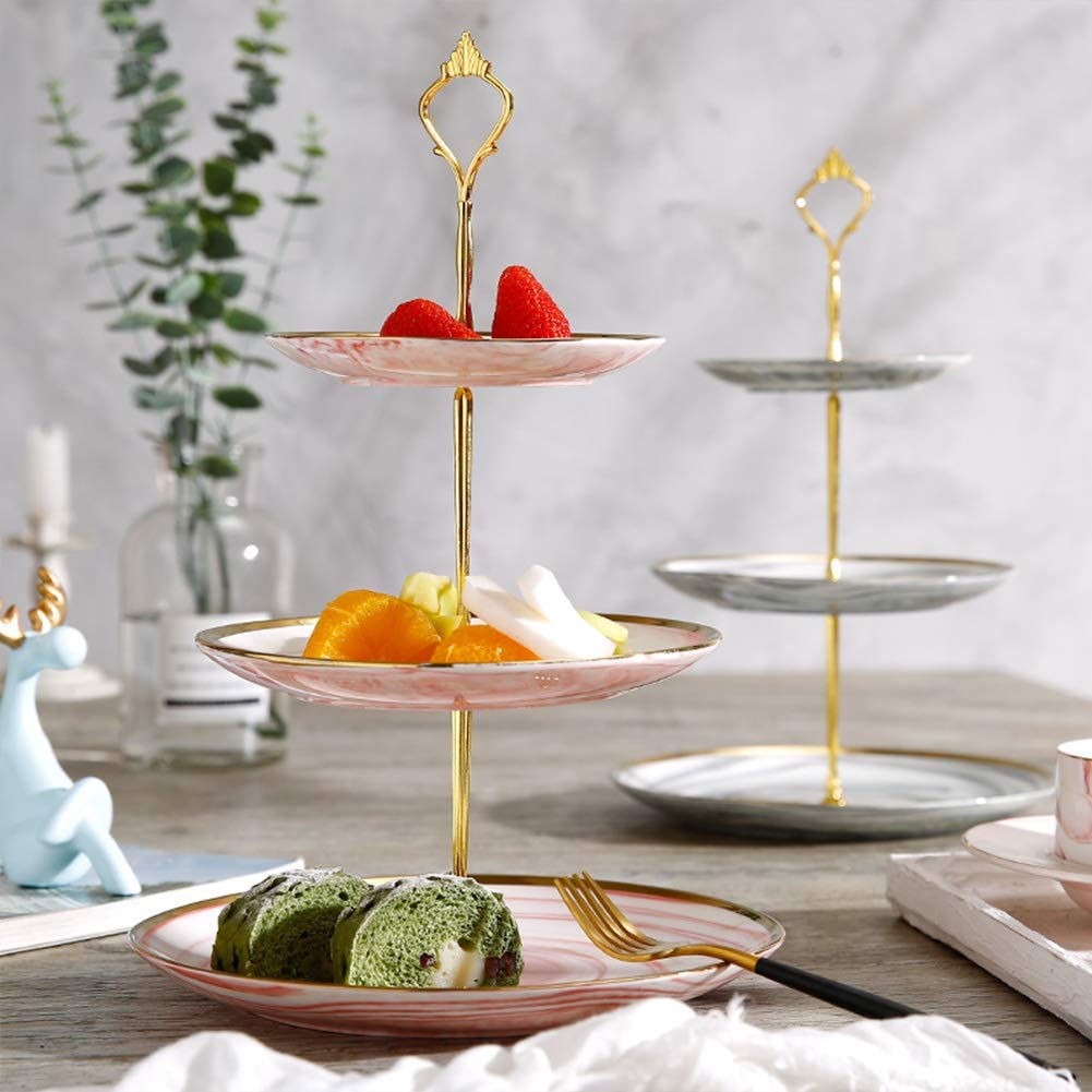Three Tiers Cake Plate Display Holder zosenda 3 Sets Cake Stand Handle Gold Finish Metal Fittings for Tea Shop Home Hotel Baby Shower Wedding Party Accessories Plates Not Included