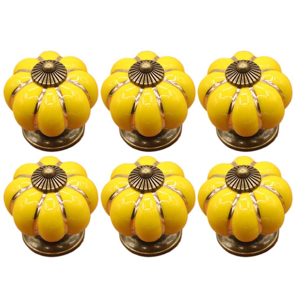 puertas dise/ño vintage con forma de calabaza armarios cajones amarillo Juego de 6 pomos de cer/ámica para cajones Doitool tiradores para muebles