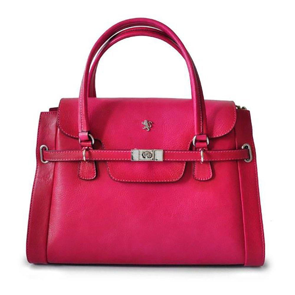 Pratesi Womens [Personalized Initials Embossing] Italian Leather Baratti Bruce Ladies Shoulder Handbag in Fuchsia