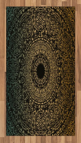 Lunarable Mandala Area Rug, Spiritual Ritual Symbol Kaleidoscopic Universe Meditation Balance, Flat Woven Accent Rug for Living Room Bedroom Dining Room, 4 x 6 FT, Fern Green Yellow Black by Lunarable