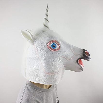 Footprintse Blanco Espeluznante Unicornio Máscara Latex Cosplay Animal Disfraz de Halloween Máscara Teatro Prop Anónimo Fiesta