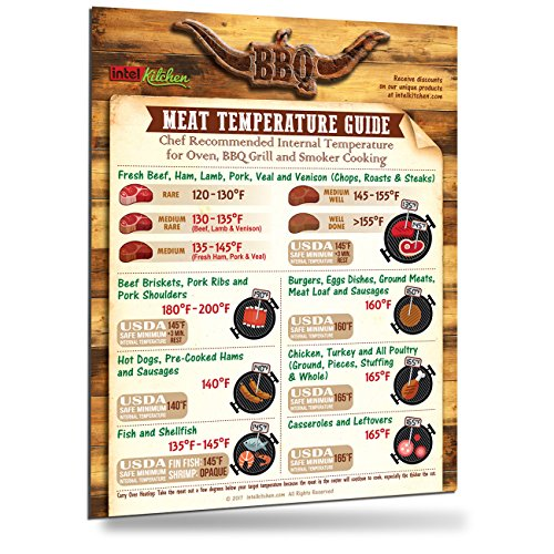 "2017 Best Design Meat Temperature Guide 8.5""x11"" Magnet Huge Fonts Unique BBQ Accessories Gift for Friends & Family USDA Safety & Chef Recommended Kitchen Oven Grill Cooking Internal Temperature Chart"