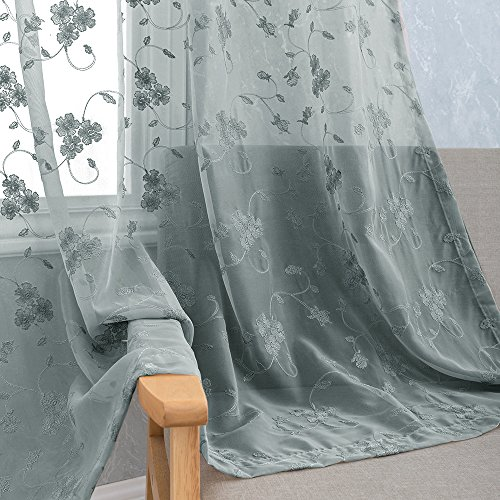Floral Embroidery Sheer Curtains for Bedroom Rustic Flower Embroidered Voile Curtain Panels for Bedroom 84 inch Length Rod Pocket 2 Panels Grey (Embroidered Voile Curtains)