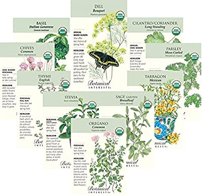"Botanical Interests ""Herb Favorites"" Organic Seed Collection - 10 Packets with Gift Box"