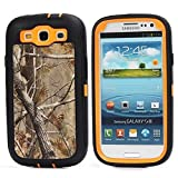 For Samsung Galaxy S3 Case,Fivers(TM) Heavy Duty Case 3 in 1 Three Advantages Waterproof Dustproof Shakeproof with Forest Camouflage Desig Cell Phone Cases for Samsung Galaxy S3 (Tree- Orange)