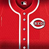 """LicensedMLB Cincinnati Reds Party Luncheon Party Napkins Tableware, Paper, 6"""" x 6"""", Pack of 36"""