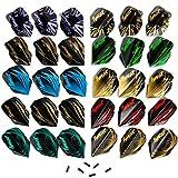 Ignat Games 30pcs Darts Flights - 10 Sets of Standard Shape Dart Flights and 6 Flights Protectors Darts Accessories Kit
