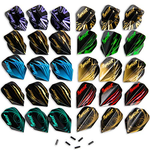 Ignat Games 30pcs Dart Flights - 10 Sets of Different Standard Shape Darts Flights and 6 Flights Protectors, Darts Accessories Kit (Flights Set)