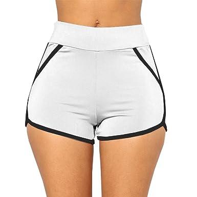 Minetom Femme Short De Sport Casual Yoga Fitness Elastique Short Été Unique  Taille Shorts Décontractés Mode da881a6329f