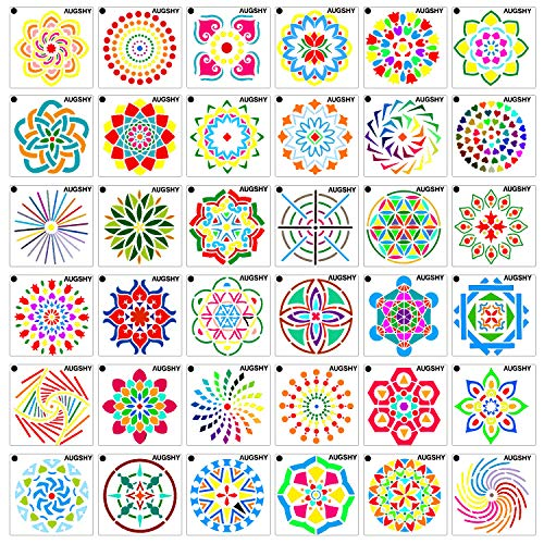 36 Pack Mandala Dot Painting Templates Stencils Perfect for DIY Rock  Painting Art Projects (3 6x3 6 inch)
