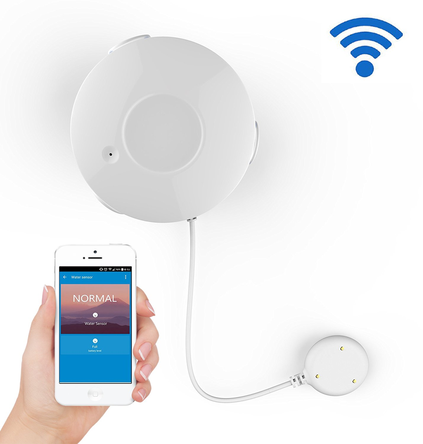Coolcam Smart Wi-Fi Water Sensor, Flood and Leak Detector Alarm and App Notification Alerts, No Hub Required, Simple Plug & Play Set Up