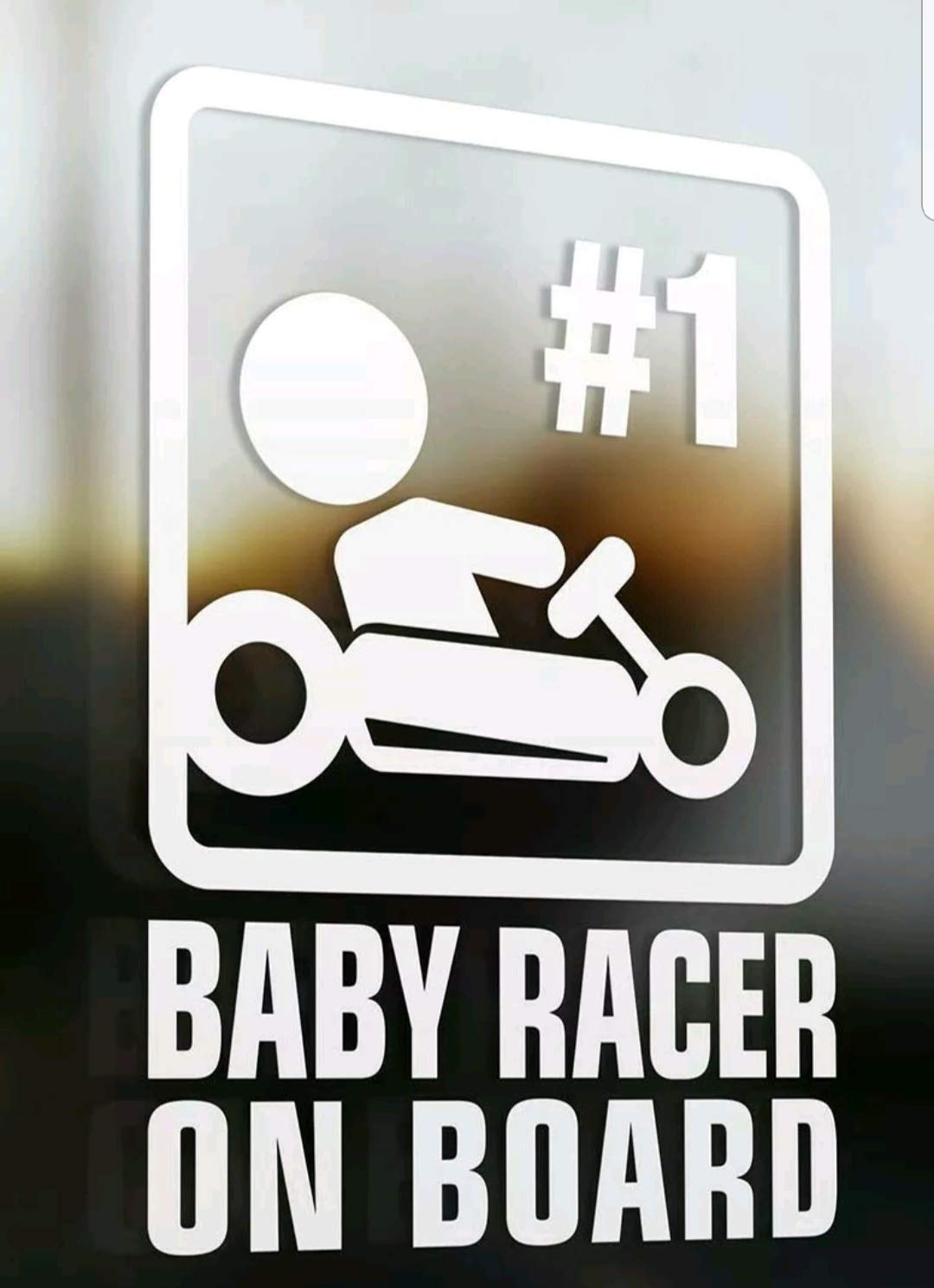 Baby racer on board - child car novelty window bumper van bike vinyl decal sticker
