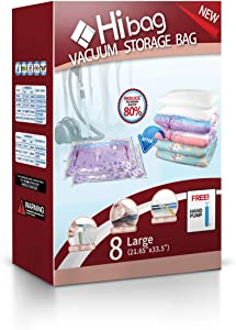 Hibag Space Saver Bags Combo with A Free Hand Pump for Home Storage and Travel Usage (8-Large)