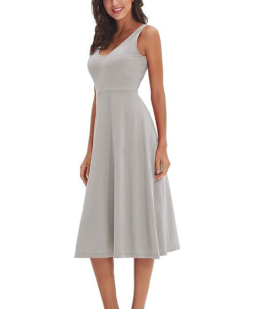 Xintianji Women\'s Elegant Sleeveless Deep V Neck Dress Slim ...