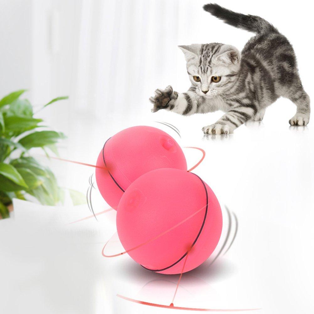 HEEPDD Giocattolo di Gatto interattivo Rosso Divertente 360 Gradi Auto Rotante con Luce LED Animali Domestici Giocattoli di rotolamento elettronico per Gatti Cucciolo di Gattino Cattura