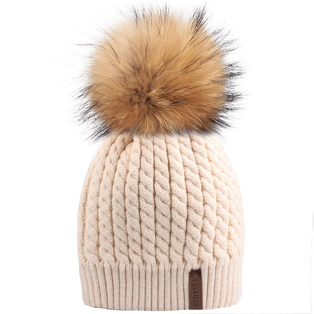 6dbc7328e8e Winter Knit Beanie Hats for Women FURTALK Warm Fur Bobble Pom Pom Hat at  Amazon Women s Clothing store