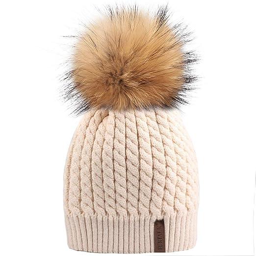 a5193ccf2 Winter Beanie Hats for Women FURTALK Womens Warm Knit Fur Bobble Pom Pom Hat