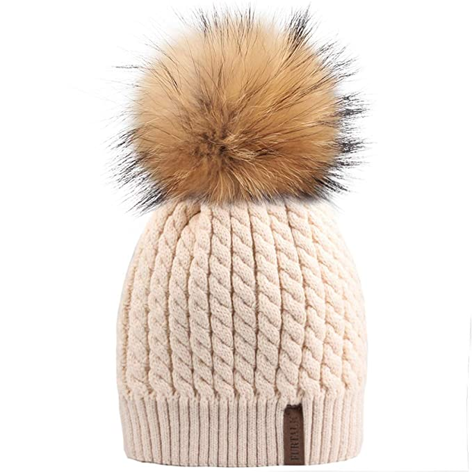 738bb14a38c0 Winter Knit Beanie Hats for Women FURTALK Warm Fur Bobble Pom Pom ...