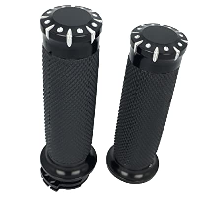 "1"" Black CNC Hand Grips Handlebar Bars Grip for Harley Touring Sportster Dyna Softail VRSC XL XR: Automotive"