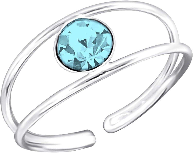Bague de pied ou de phalange Métal Rhodié pierres bleu