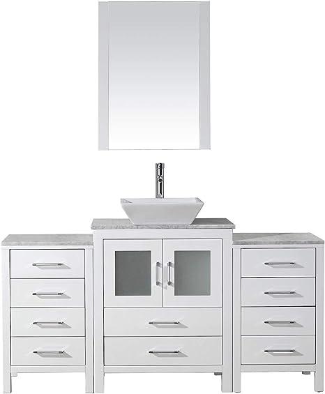 Virtu Usa Dior 60 Inch Single Sink Bathroom Vanity Set In White W