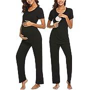 MAXMODA Women's Maternity Nursing Pajama Set 2 PCS Breastfeeding Short Sleeve Top and Pant Black M
