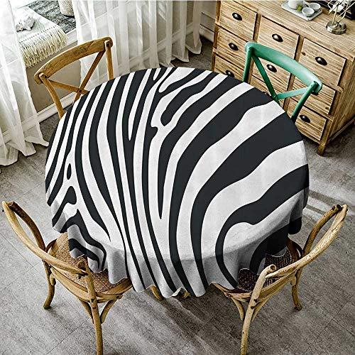 (familytaste Tablecloths for Circular TableZebra Print Decor Collection,Zebra Animal Skin Pattern Nature Desert Life Theme Simple Stylish Illustration,Black White D 36