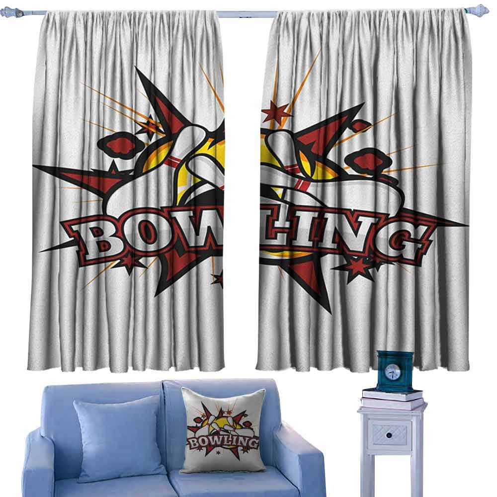 ParadiseDecor Bowling Party Backout Drapes Cartoon Comic Book Style Design Stars Retro Style with Crash Effects,Backout Curtains for Baby Bedroom,W42 x L63 Inch by ParadiseDecor