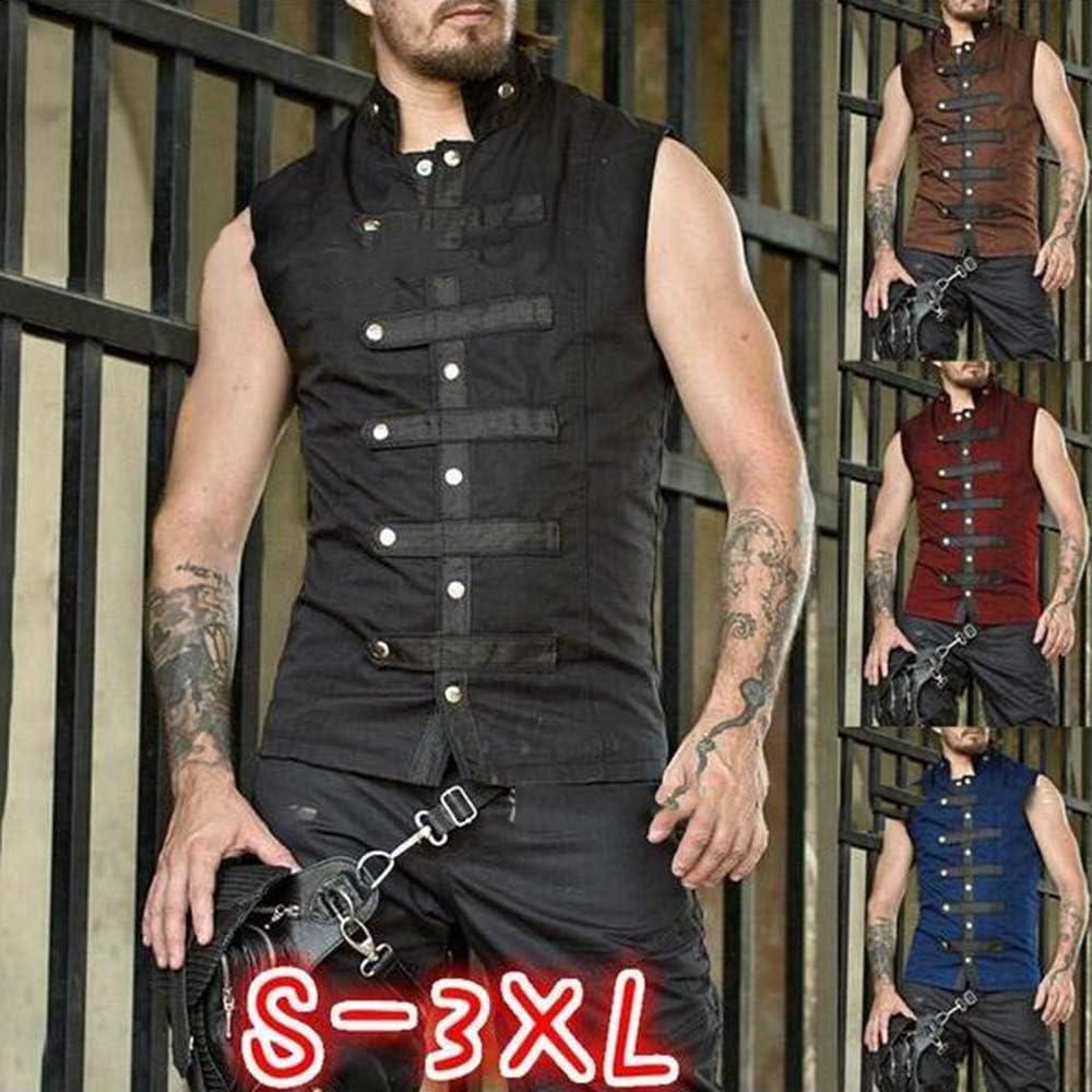 Chaleco con Hebilla g/ótica Medieval de Hombre Chaleco sin Mangas renacentista de Punk renacentista