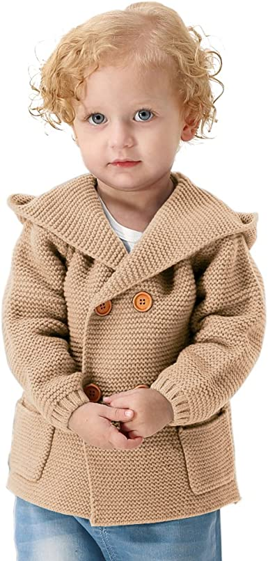 V-Neck Knit Baby Sweater Winter Infant Boys Cardigan Long Sleeve Warm Clothing for Boy