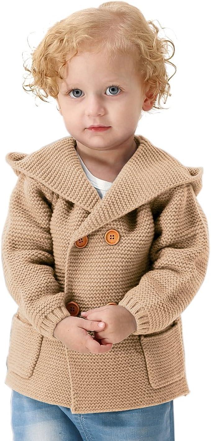 Baby Girls Boys Hooded Cardigan Chunky Knit Warm Sweaters Fake Fur Hoodies Coat