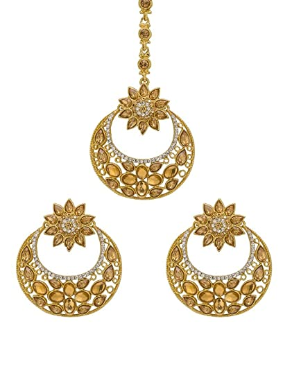 Bindhani Indian Wedding Head Gold Plated Jewelry Maang Tikka Earrings For Women Bridal & Wedding Party Jewelry