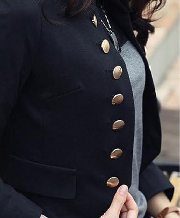 Women's Long Sleeve Short Double Breasted Suit Jacket Blazer