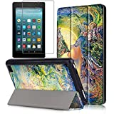 magazine protective hard sleeves - Gzerma Fire 7 Case 2017 Release with Screen Protector for All-New Fire 7 Tablet, Folio Standing PU Leather Cover with Auto Wake / Sleep, Shatter-proof Protective Film for Amazon Fire7 7th Gen, Mary