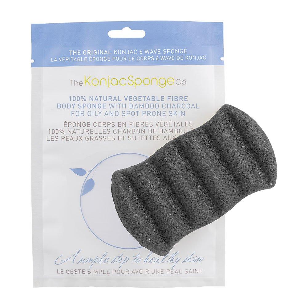 The Konjac Sponge Company 6 wave body sponge bamboo charcoal, 1 Count