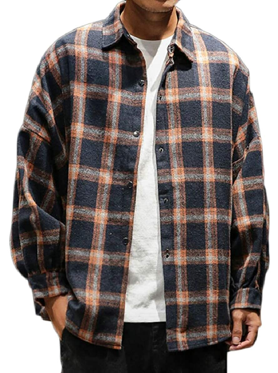 FLCH+YIGE Mens Plaid Hipster Long Sleeve Big Tall Loose Fit Button Down Shirts