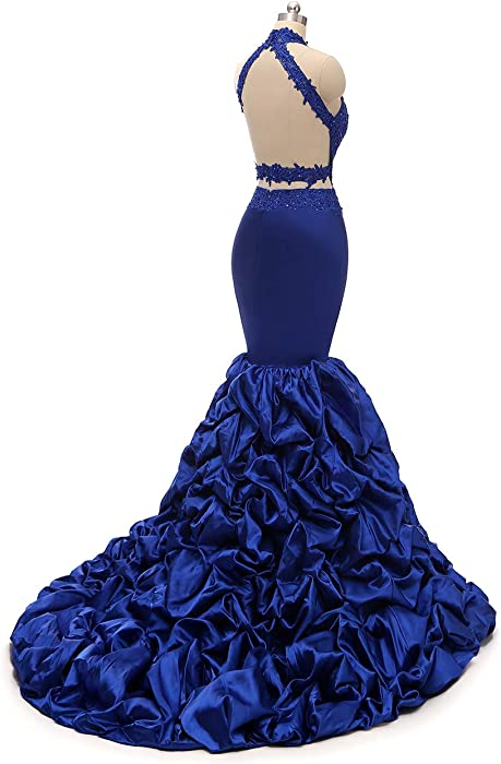 9818956ba9 Womens Halter Mermaid Prom Dresses Long 2019 Backless Beaded Formal Evening  Gown with Lace Applique Black. Back. Double-tap to zoom