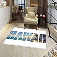 Hawaiian Door Mats Area Rug Word Hawaii with Tropical Island Photo Exotic Popular Places Palm Forest by Ocean Bath Mat for tub Bathroom Mat 18x30 Blue Green