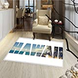 Hawaiian Door Mats Area Rug Word Hawaii with Tropical Island Photo Exotic Popular Places Palm Forest by Ocean Bath Mat for tub Bathroom Mat 18''x30'' Blue Green