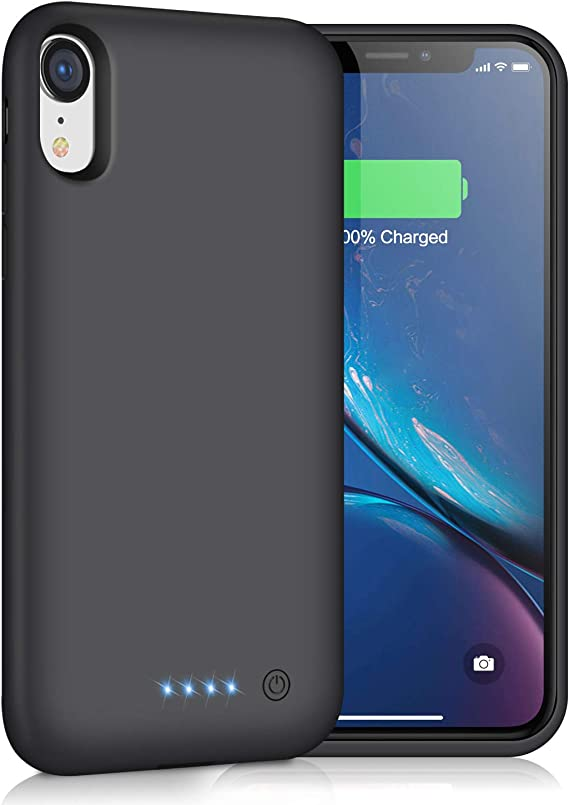 Black Extended Battery Portable Rechargeable Backup Fast Charging Case Ultra Thin Charger Case Power Bank Cover for Apple iPhone XR 5000 mAh 6.1 inch iPhone XR Battery case