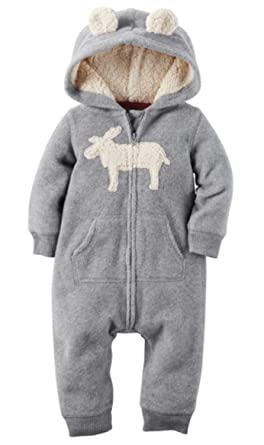 872f6171d Amazon.com  Carters Boy s Fleece Hooded Two Pocket Bodysuit Romper ...