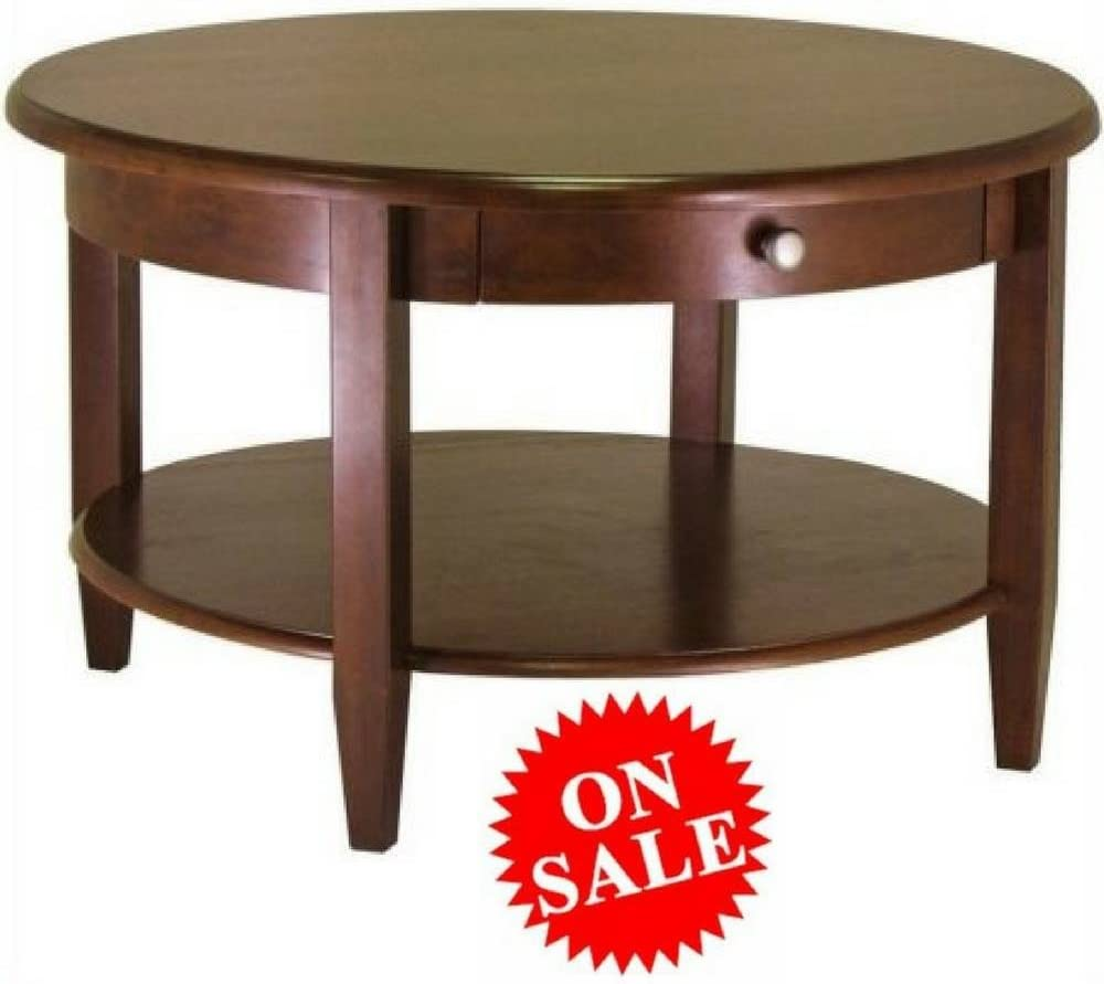 Amazon Com Antique Round Coffee Table With Drawer And Shelf Brown