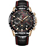 Bernsuisse LIGE Multi-Functional Chronograph Japanese Quartz Genuine Leather Business Outdoor Sports and Leisure Fashion Waterproof Wristwatch for Men LIGE 9821 L - Black