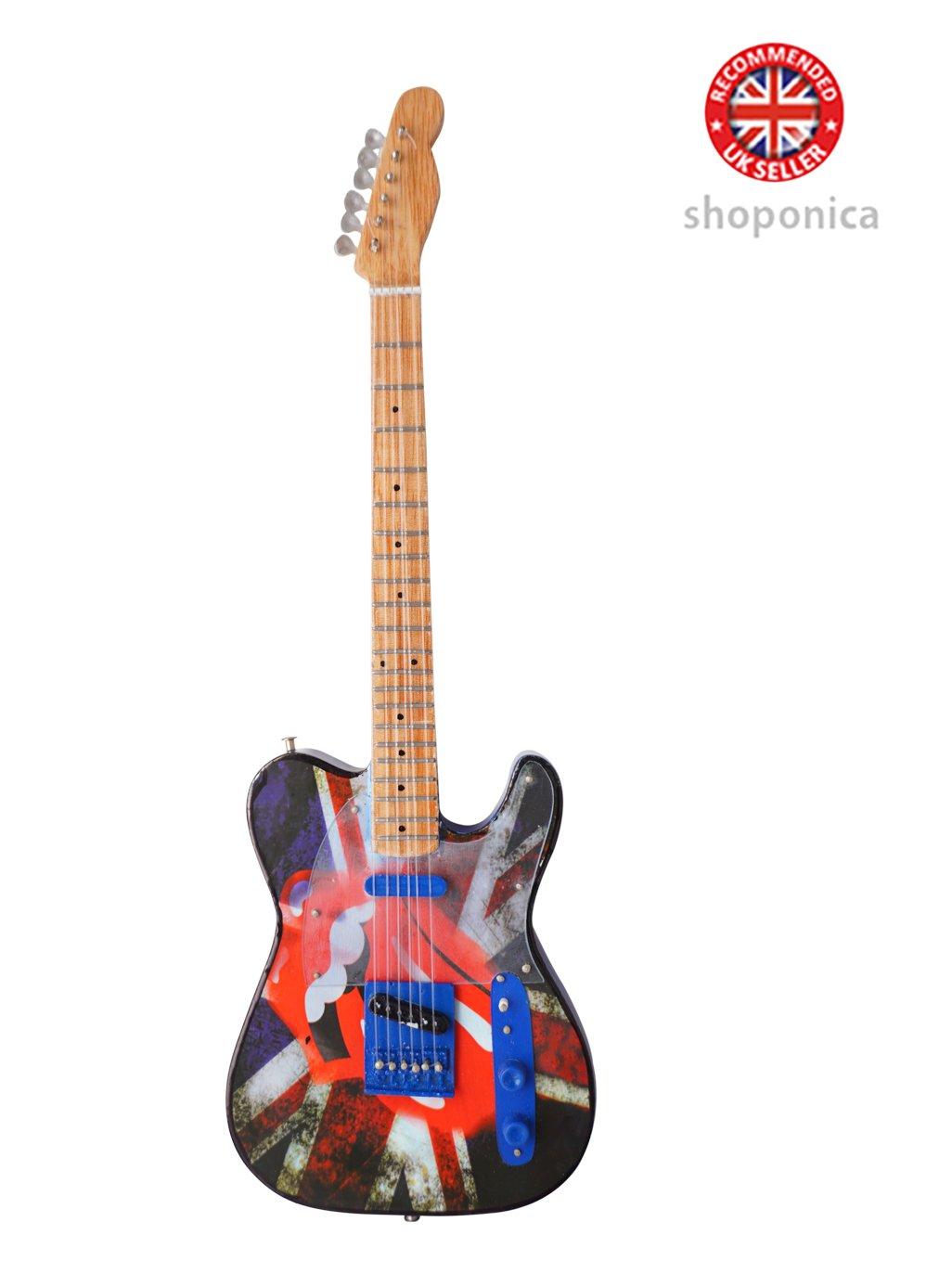 Miniatur-Gitarre aus Holz, Design: Rolling Stones, Nachbildung Music Legends