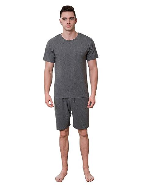 QianXiu Verano Pijama Gris Modal Camisa de Dormir Ropa de Dormir de algodón Conjunto Conjunto de