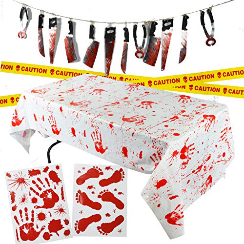 Walking Dead Halloween Decorations Front Yard (Spooktacular Creations Halloween Party Decoration Set, Including Bloody Tablecover, Weapon Garland, Bloody Clings and Caution Tapes, 5)